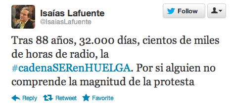 Tweet de Isaias Lafuente sobre la huelga en la SER