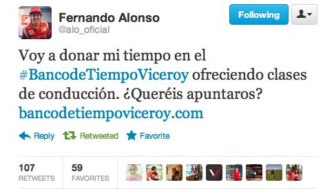 Tweet de Fernando Alonso