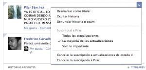 Opciones de clasificación de post en Facebook