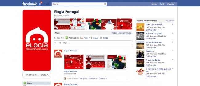 Nuevo diseño página facebook Elogia Portugal
