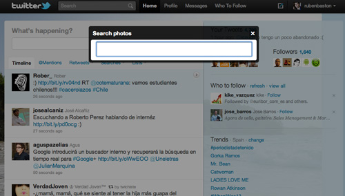 Caja de búsqueda de fotos en Twitter