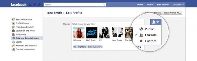 Escoger privacidad de cada categoría de perfil