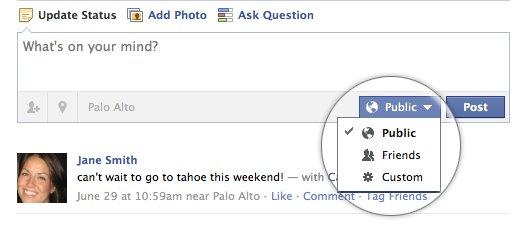 Opciones de publicación en Facebook