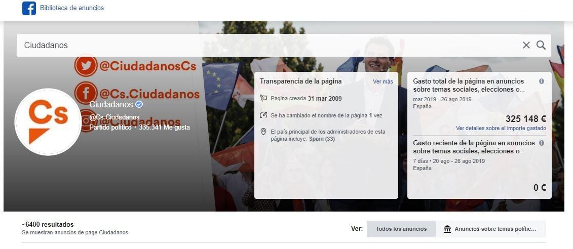 Anuncios Ciudadanos en Facebook