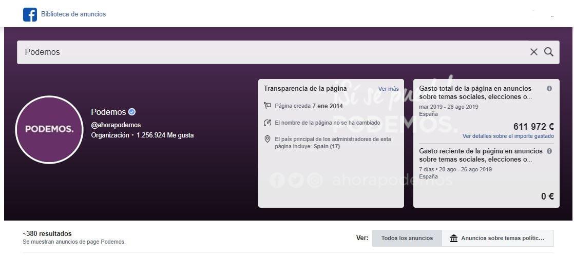 Anuncios Podemos en Facebook