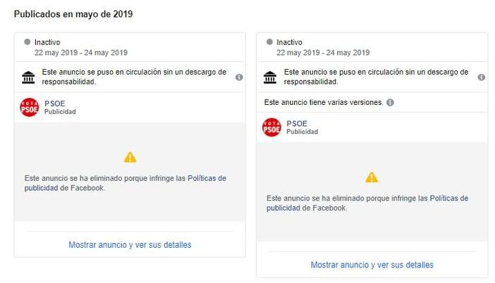 Anuncios eliminados del psoe en facebook