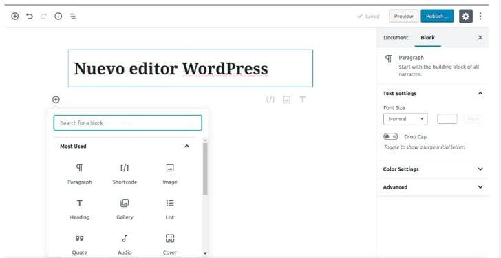 Wordpress Bebo 5 interface