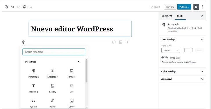 Wordpress Bebo 5 interface