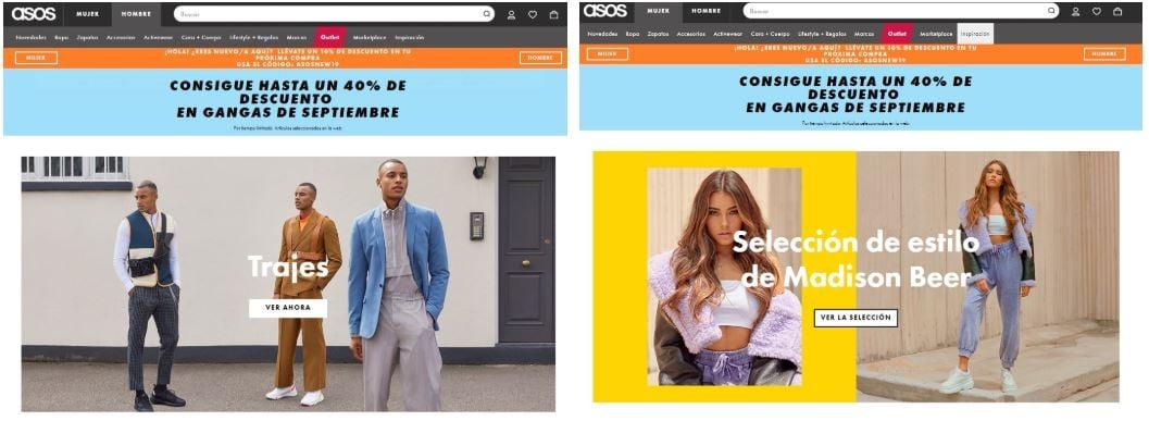 asos hombre mujer homepage ux personalizacion