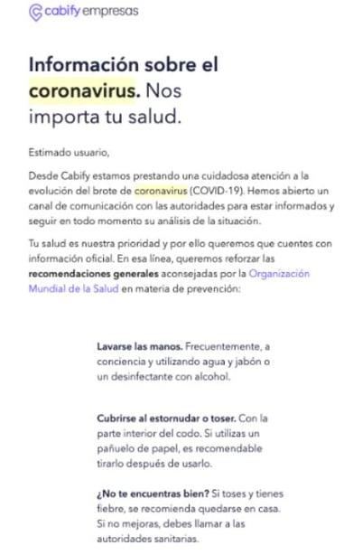 cabify coronavirus