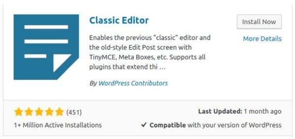 classic editor wordpress