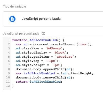 configuracion variable analytics adblocker