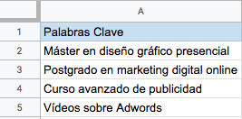 tabla categorizar palabras clave